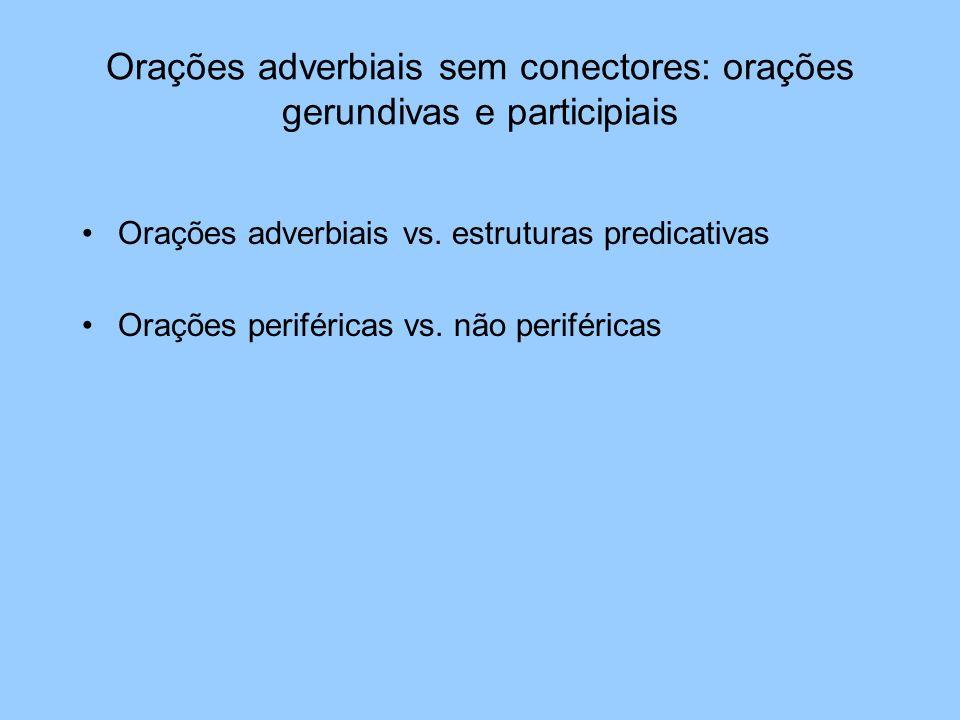 Orações adverbiais sem conectores: orações gerundivas e participiais