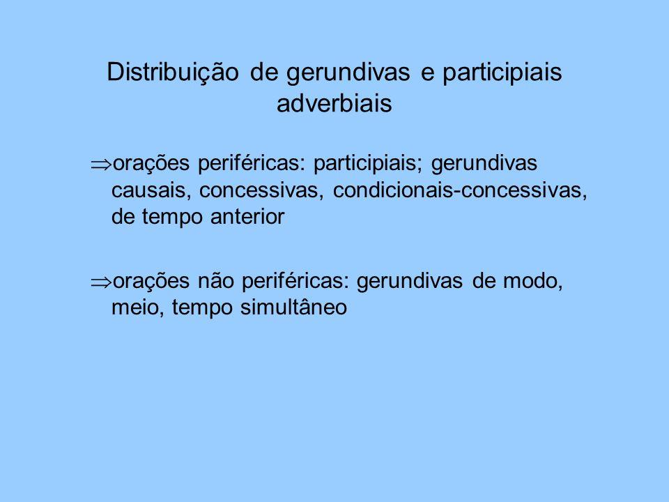 Distribuição de gerundivas e participiais adverbiais