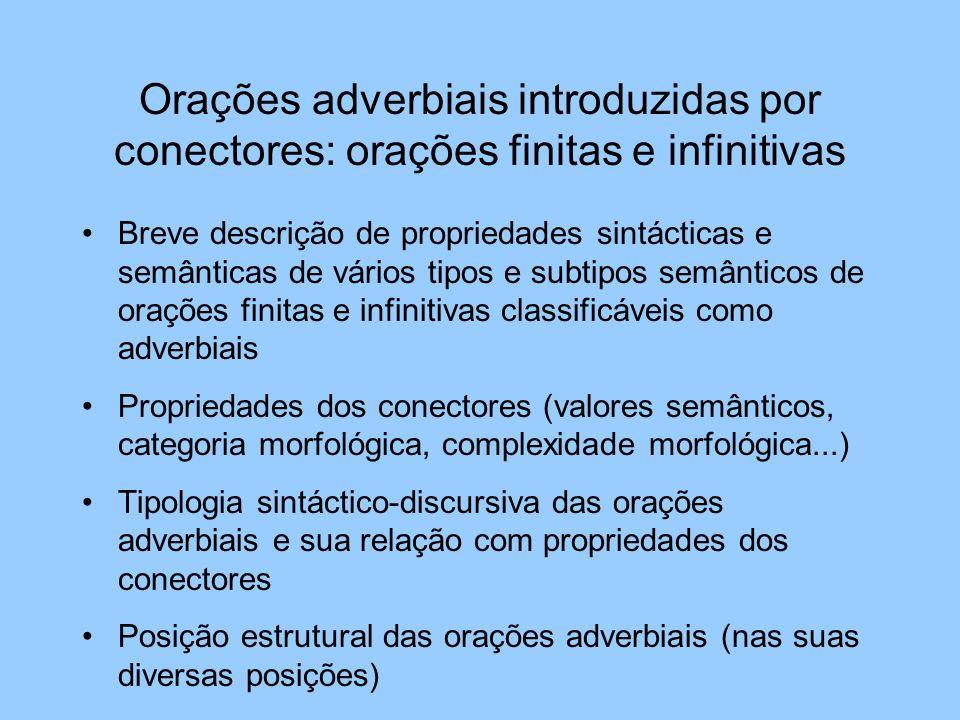 Orações adverbiais introduzidas por conectores: orações finitas e infinitivas