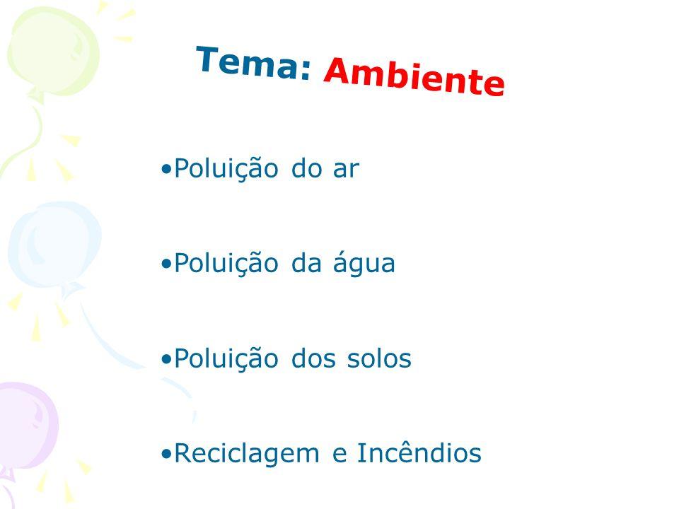 Tema: Ambiente Poluição do ar Poluição da água Poluição dos solos
