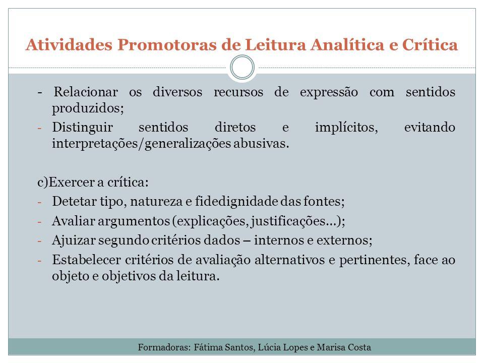 Atividades Promotoras de Leitura Analítica e Crítica