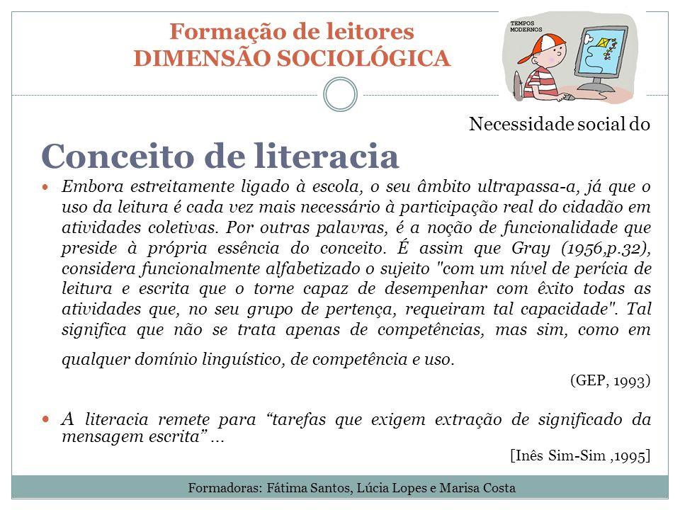 Formação de leitores DIMENSÃO SOCIOLÓGICA
