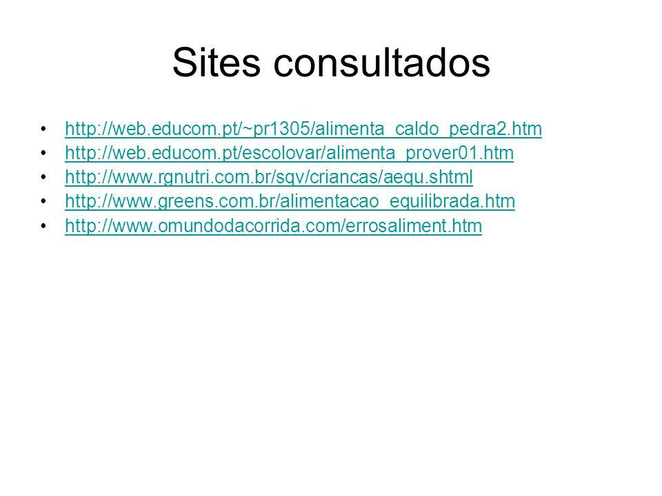 Sites consultados http://web.educom.pt/~pr1305/alimenta_caldo_pedra2.htm. http://web.educom.pt/escolovar/alimenta_prover01.htm.