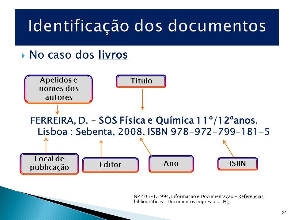 Identificação dos documentos