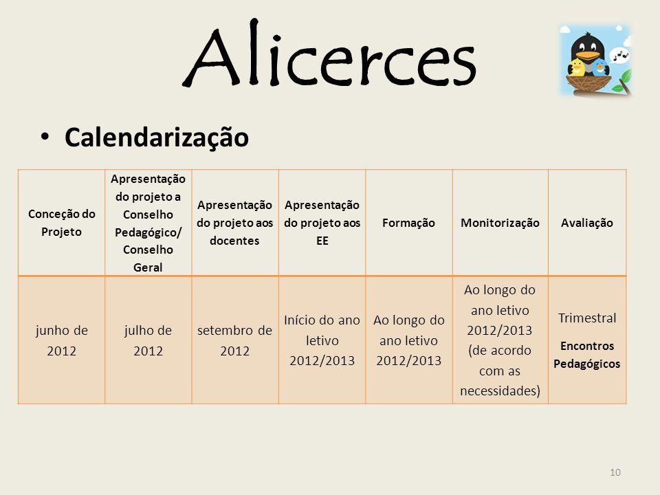 Alicerces Calendarização junho de 2012 julho de 2012 setembro de 2012