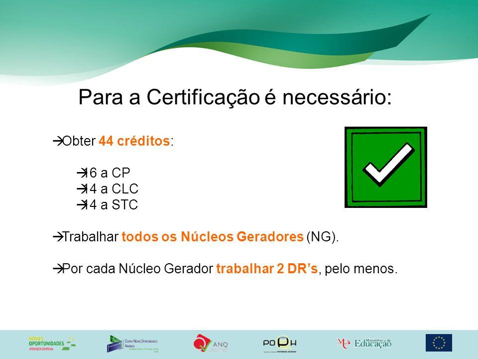 Para a Certificação é necessário:
