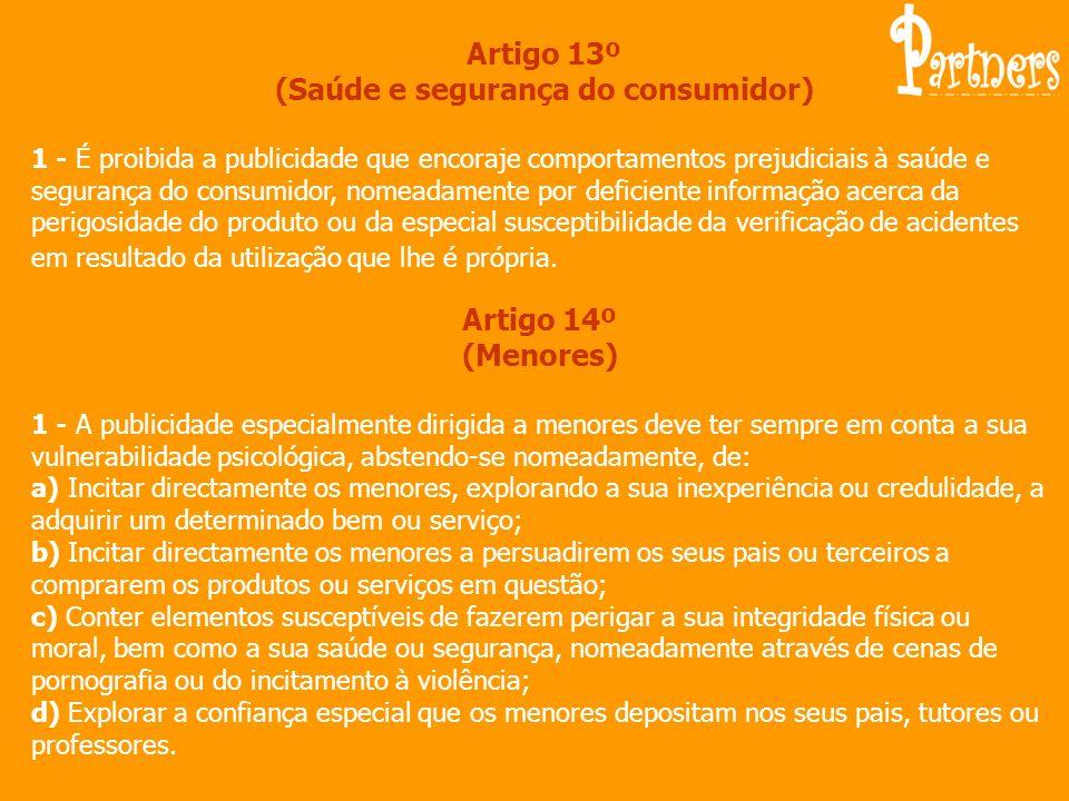 Artigo 13º (Saúde e segurança do consumidor)