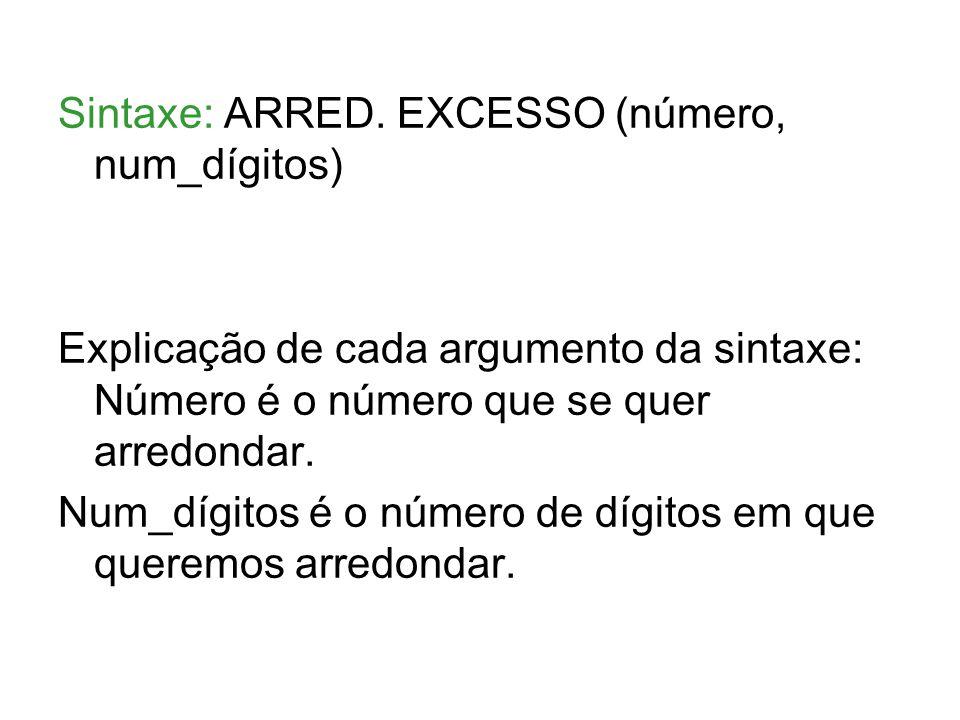 Sintaxe: ARRED. EXCESSO (número, num_dígitos)