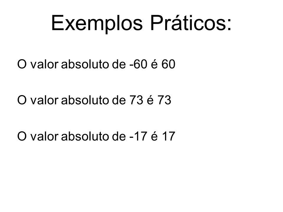 Exemplos Práticos: O valor absoluto de -60 é 60