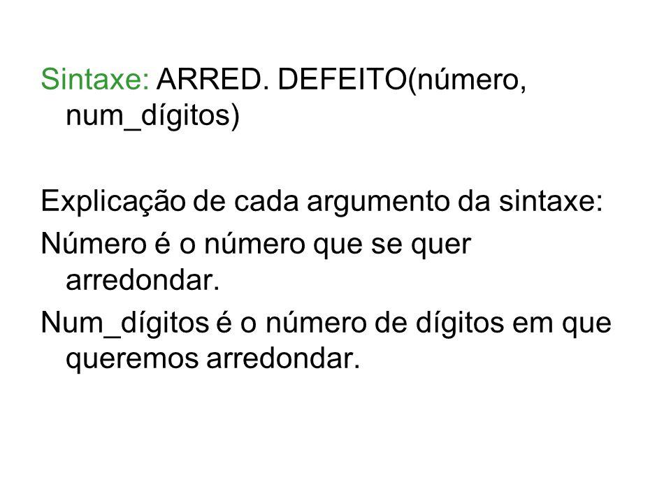 Sintaxe: ARRED. DEFEITO(número, num_dígitos)