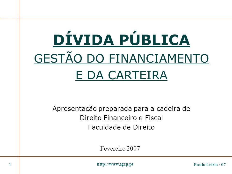 DÍVIDA PÚBLICA GESTÃO DO FINANCIAMENTO E DA CARTEIRA Apresentação preparada para a cadeira de Direito Financeiro e Fiscal Faculdade de Direito