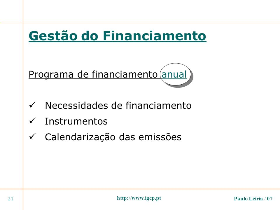 Gestão do Financiamento