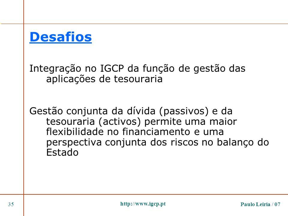 Desafios Integração no IGCP da função de gestão das aplicações de tesouraria.