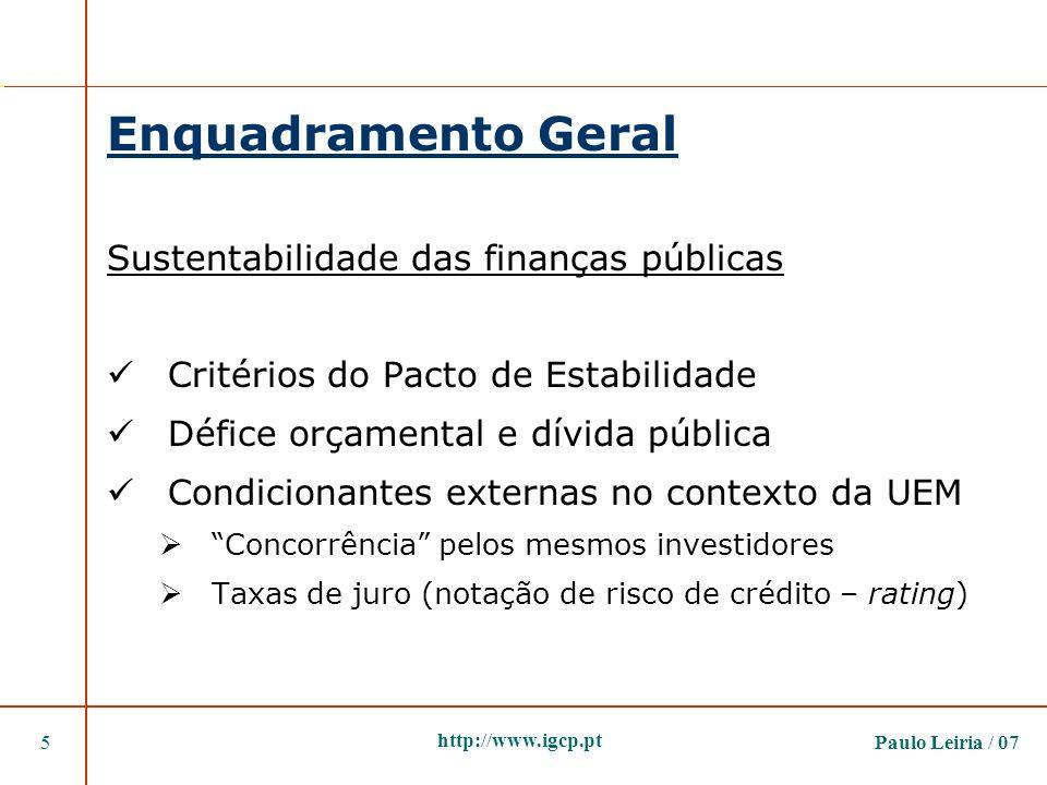 Enquadramento Geral Sustentabilidade das finanças públicas