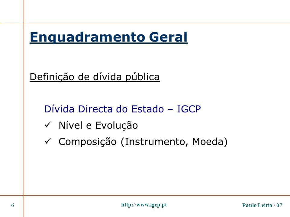 Enquadramento Geral Definição de dívida pública