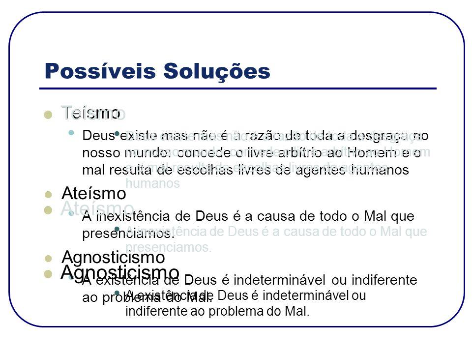 Possíveis Soluções Teísmo Ateísmo Agnosticismo Teísmo Ateísmo