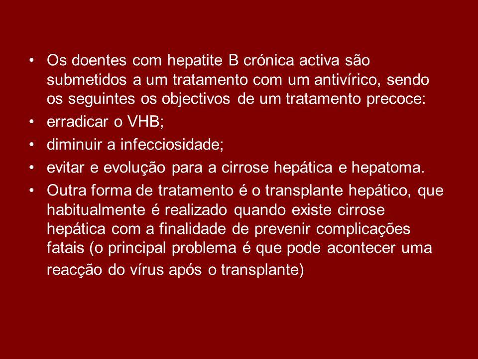 Os doentes com hepatite B crónica activa são submetidos a um tratamento com um antivírico, sendo os seguintes os objectivos de um tratamento precoce: