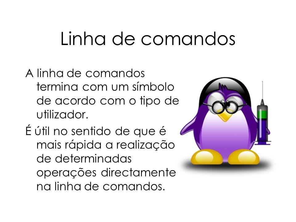 Linha de comandos A linha de comandos termina com um símbolo de acordo com o tipo de utilizador.