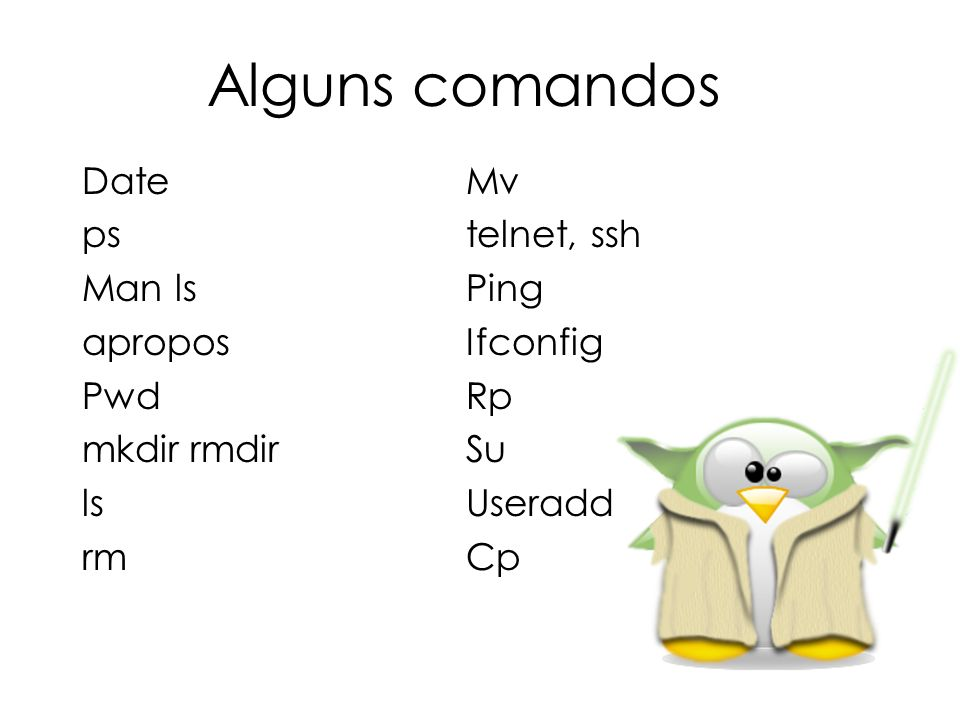 Alguns comandos Date Mv ps telnet, ssh Man ls Ping apropos Ifconfig