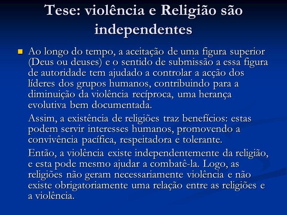 Tese: violência e Religião são independentes
