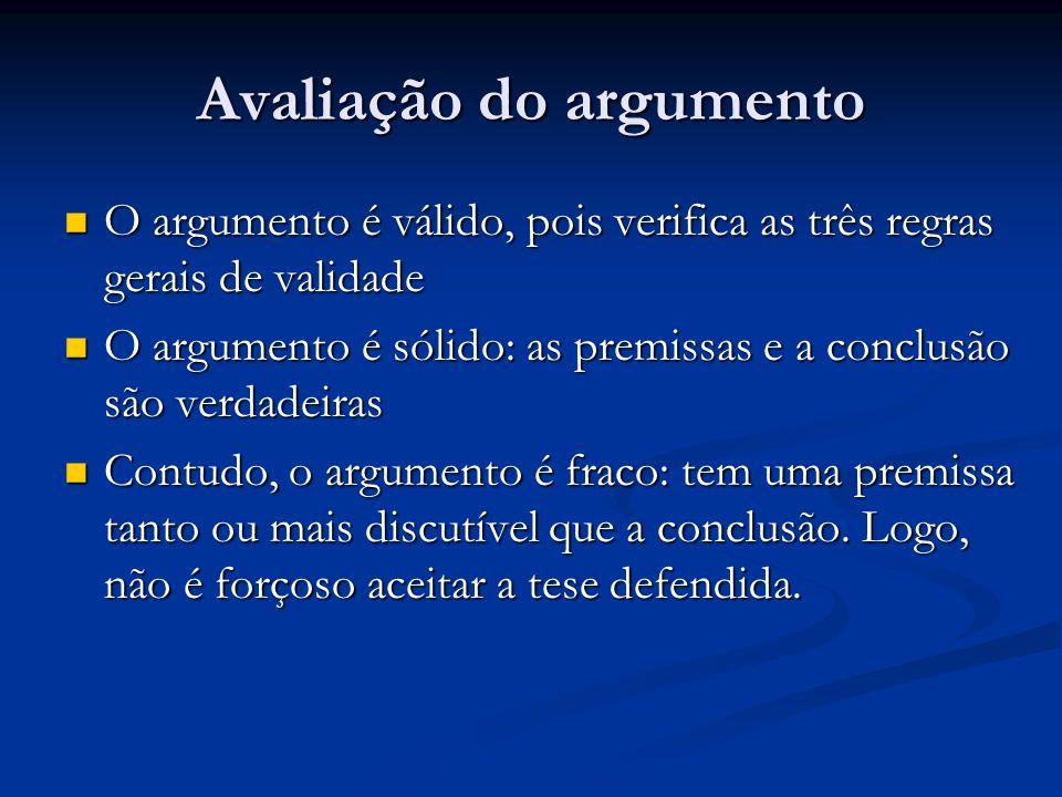 Avaliação do argumento