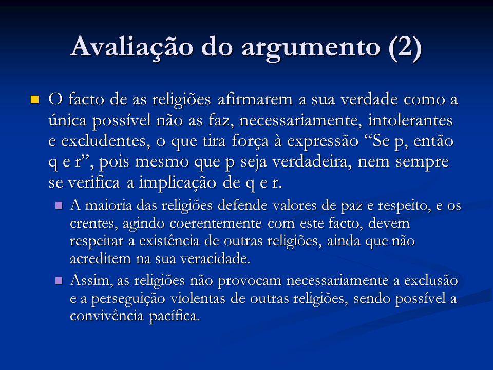 Avaliação do argumento (2)