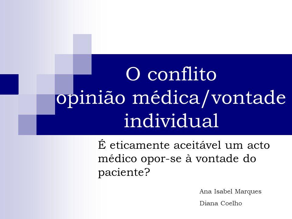 O conflito opinião médica/vontade individual