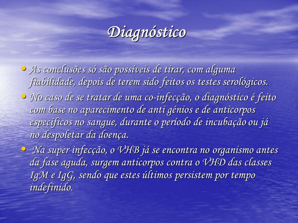 Diagnóstico As conclusões só são possíveis de tirar, com alguma fiabilidade, depois de terem sido feitos os testes serológicos.