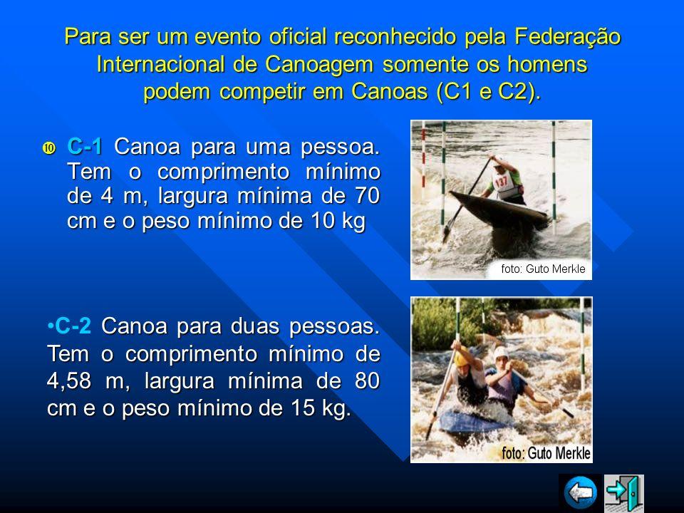 Para ser um evento oficial reconhecido pela Federação Internacional de Canoagem somente os homens podem competir em Canoas (C1 e C2).