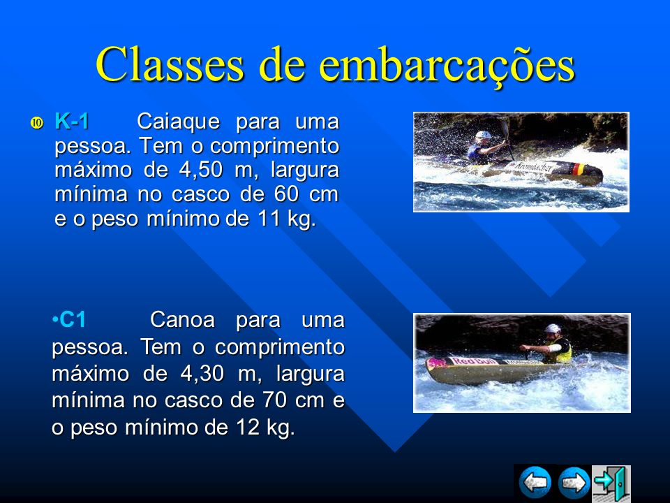 Classes de embarcações