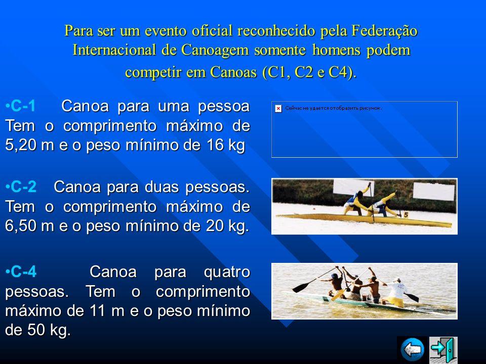 Para ser um evento oficial reconhecido pela Federação Internacional de Canoagem somente homens podem competir em Canoas (C1, C2 e C4).