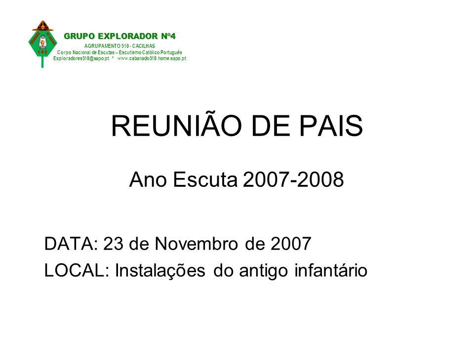 REUNIÃO DE PAIS Ano Escuta 2007-2008