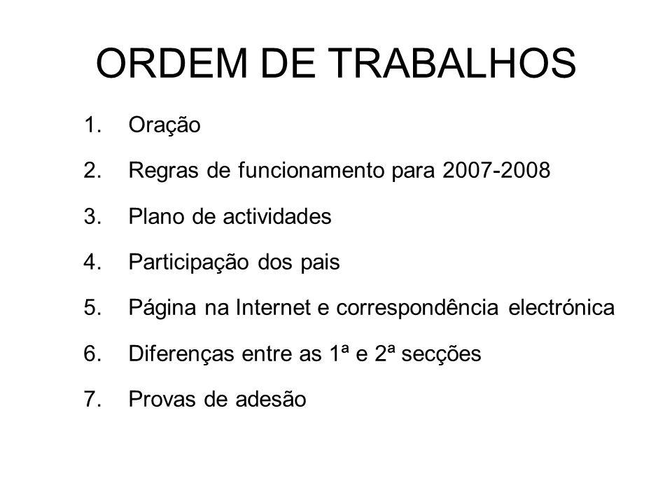 ORDEM DE TRABALHOS Oração Regras de funcionamento para 2007-2008