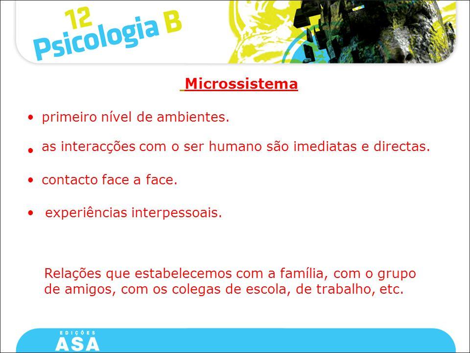 Microssistema • primeiro nível de ambientes.