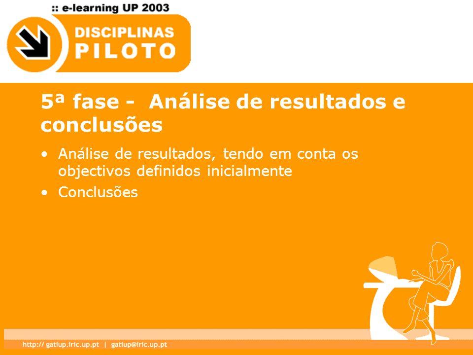 5ª fase - Análise de resultados e conclusões