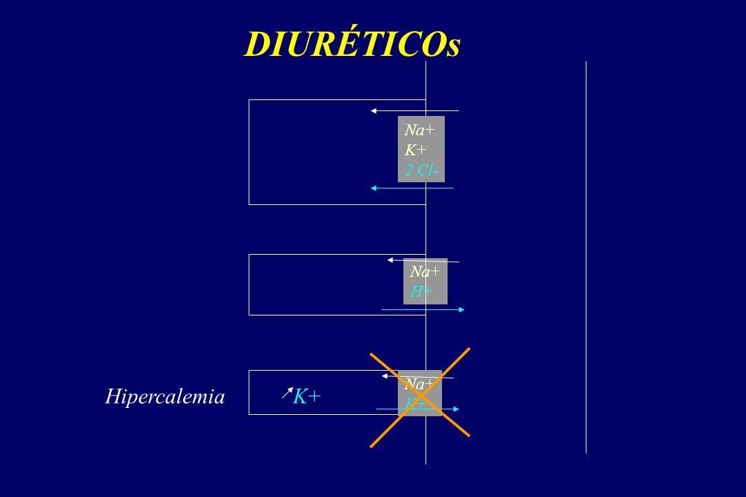 DIURÉTICOs Na+ K+ 2 Cl- Na+ H+ Na+ K+ Hipercalemia K+