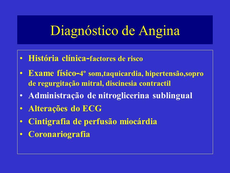 Diagnóstico de Angina História clínica-factores de risco