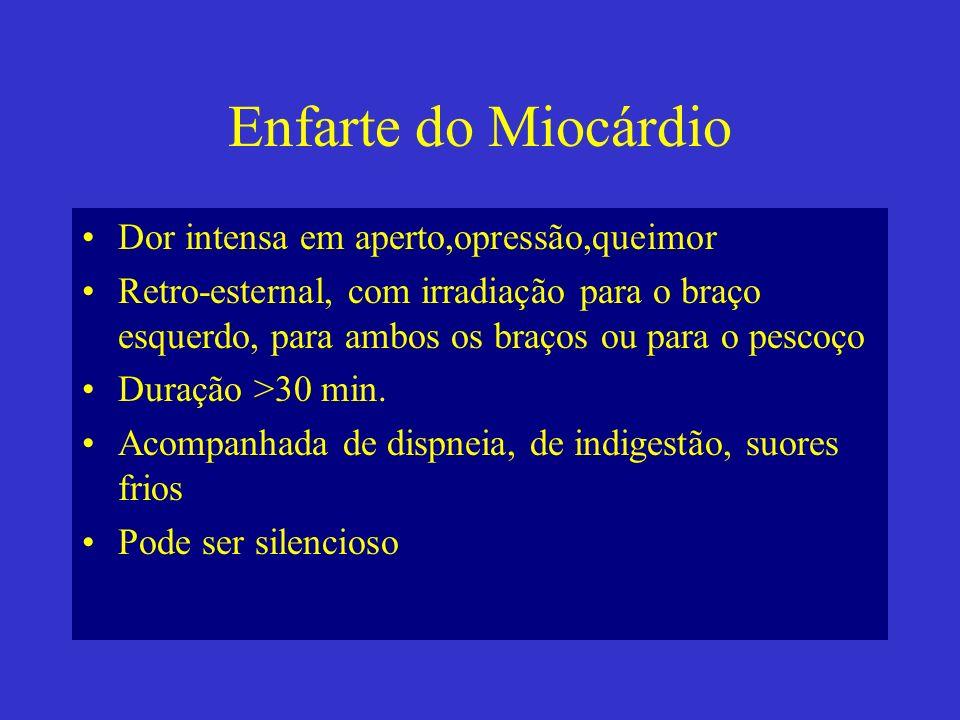 Enfarte do Miocárdio Dor intensa em aperto,opressão,queimor
