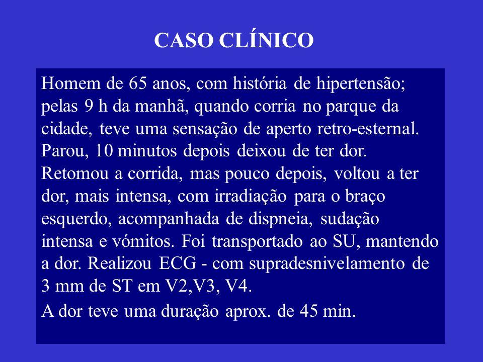 CASO CLÍNICO Homem de 65 anos, com história de hipertensão;