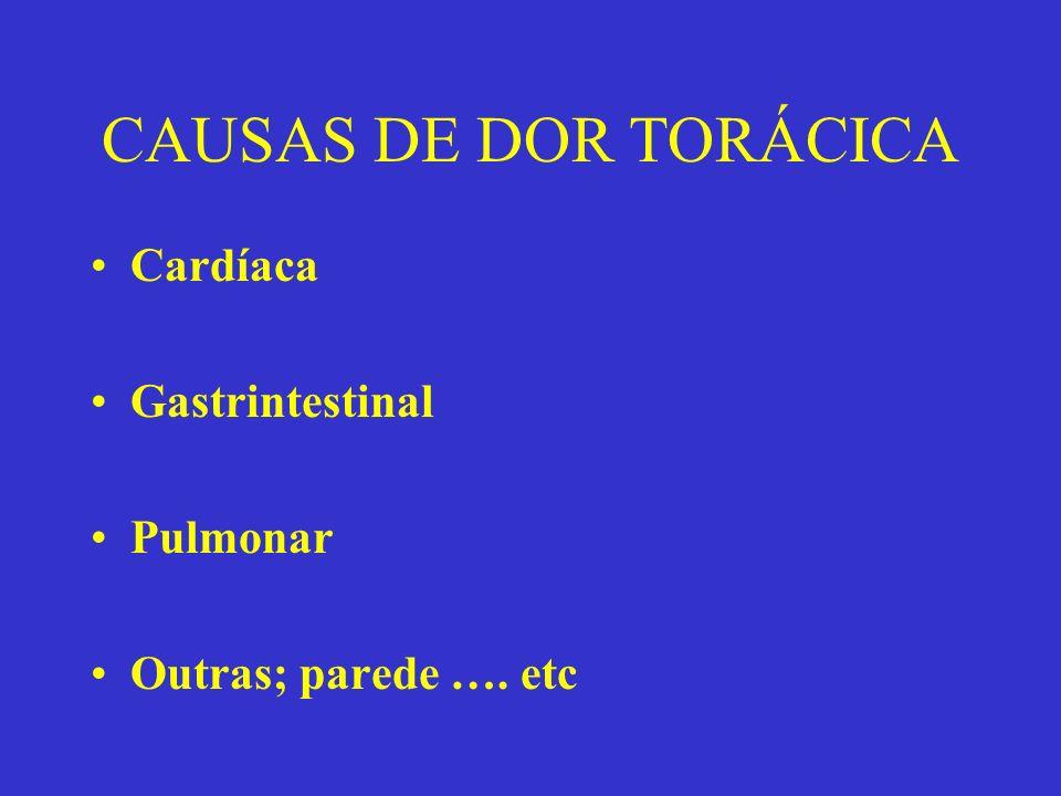CAUSAS DE DOR TORÁCICA Cardíaca Gastrintestinal Pulmonar