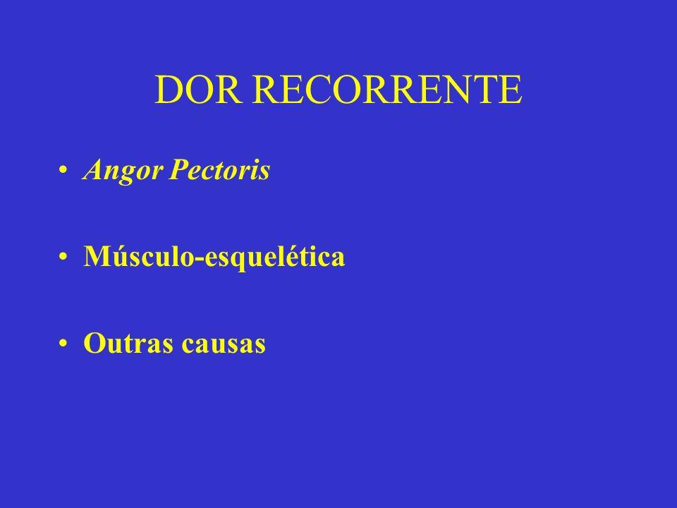 DOR RECORRENTE Angor Pectoris Músculo-esquelética Outras causas