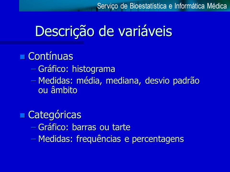 Descrição de variáveis