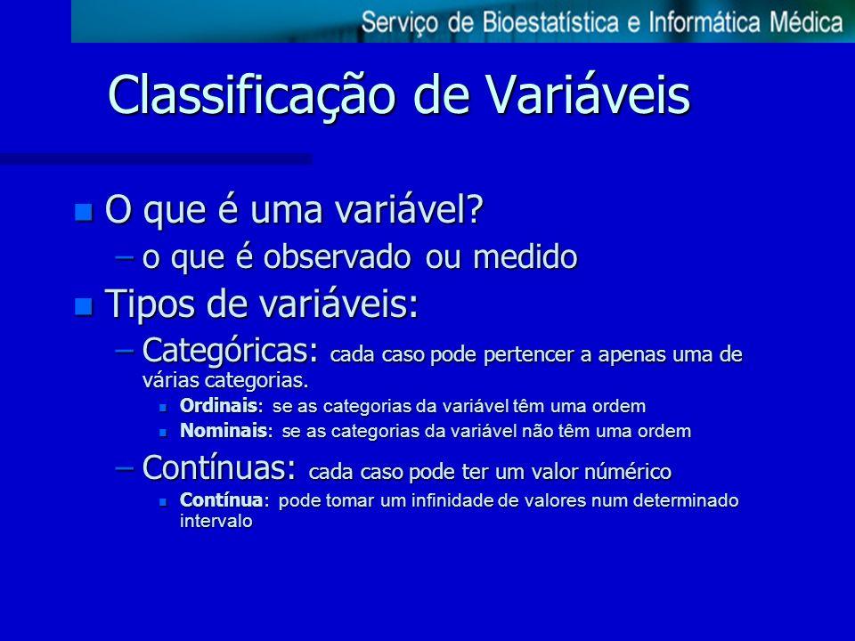 Classificação de Variáveis