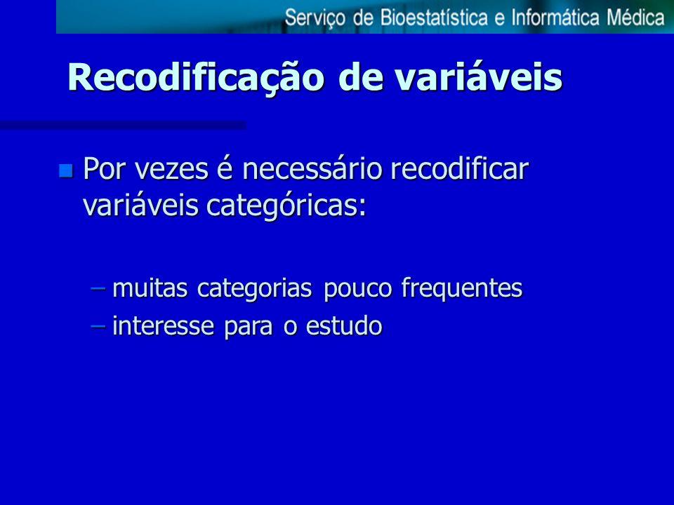 Recodificação de variáveis