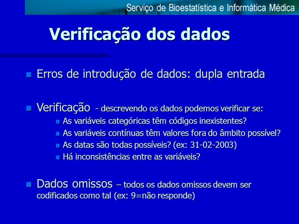 Verificação dos dados Erros de introdução de dados: dupla entrada