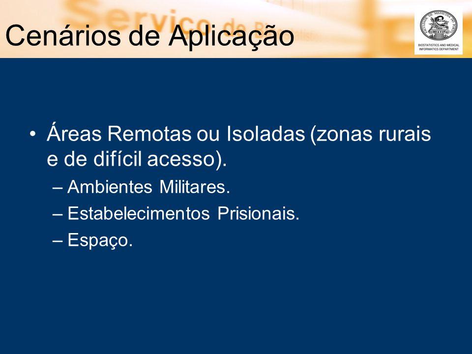 Cenários de Aplicação Áreas Remotas ou Isoladas (zonas rurais e de difícil acesso). Ambientes Militares.