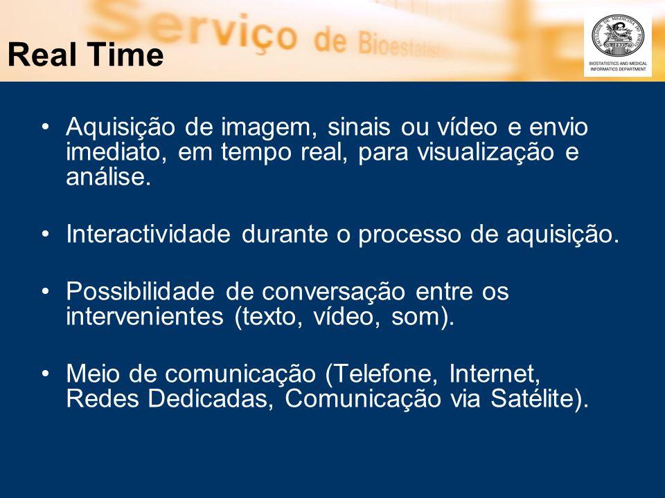 Real Time Aquisição de imagem, sinais ou vídeo e envio imediato, em tempo real, para visualização e análise.