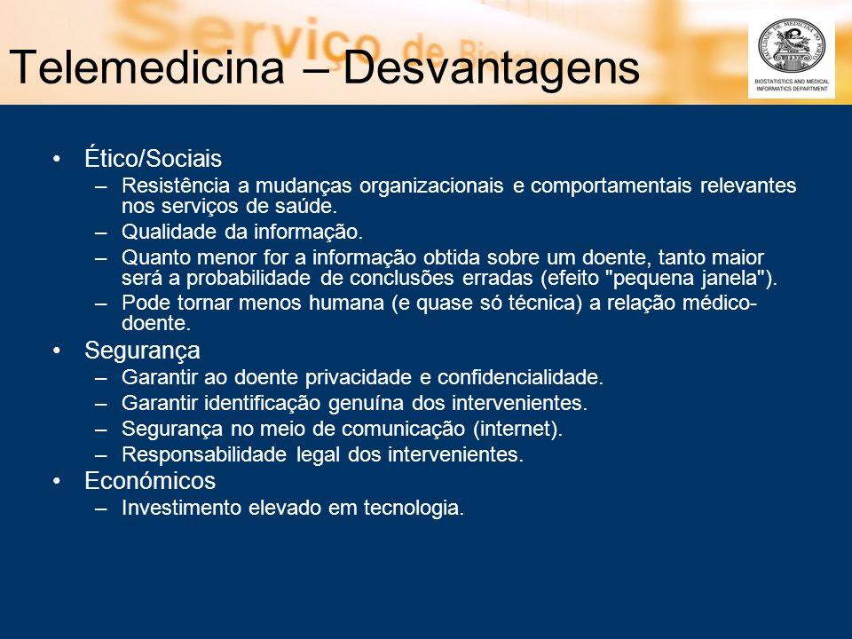 Telemedicina – Desvantagens