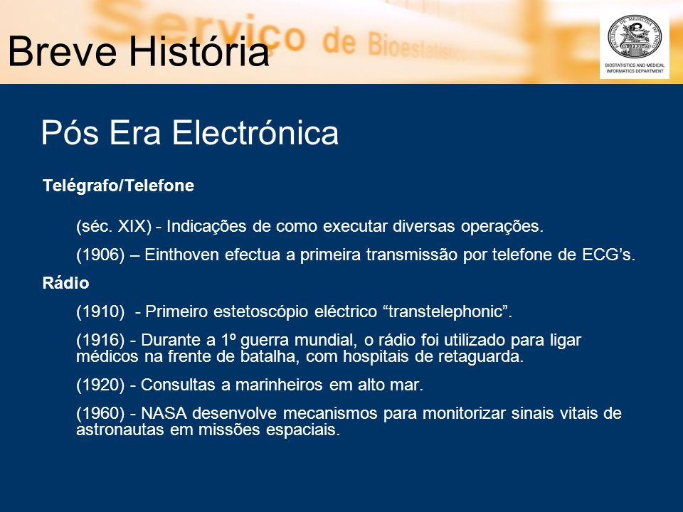 Breve História Pós Era Electrónica Telégrafo/Telefone