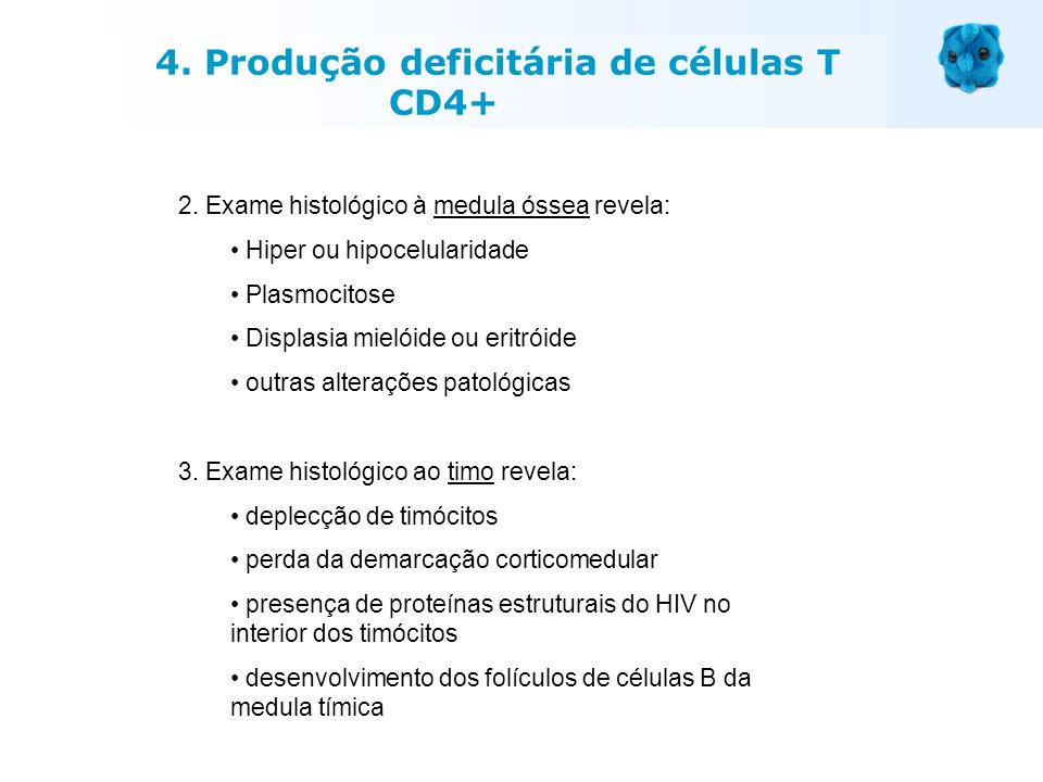 4. Produção deficitária de células T CD4+